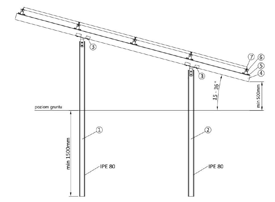 Modish Konstrukcja dwupodporowa wbijana do ziemi 220-250Wp   Sklep.rotero LP83